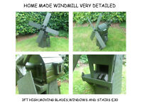 GARDEN WINDMILL WHEEL BARROW WISHING WELL BENCH FLOWER BOX