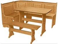 EX DISPLAY Argos Home Puerto Rico Wood Nook Table & 3 Corner Bench Set