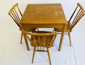 Ercol breakfast table and 3 all purpose chairs