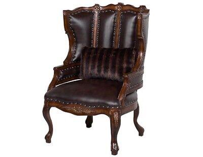 Benetti's Italia Cavalli Wing Back Brown Leather Chair w/ Nailhead Trim Accents ()