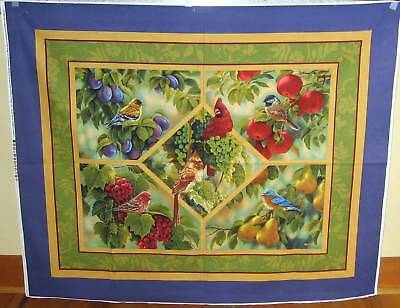 "1 Wonderful ""Bird Sanctuary"" Cotton Fabric Quilting/Wallhanging Panel"