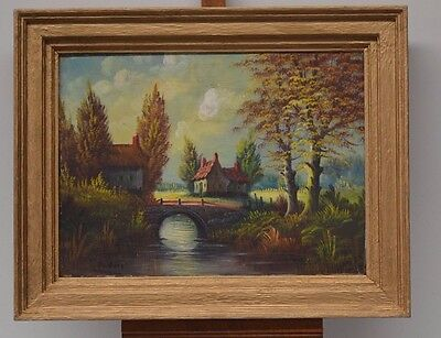 ANTIQUE FRAME PAINTING PAINTING ON CANVAS VILLAGE SOUTH AMERICAN