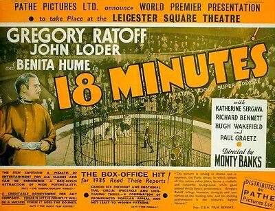 18 MINUTES 1935 Gregory Ratoff,  John Loder, Benita Hume CIRCUS TRADE ADVERT