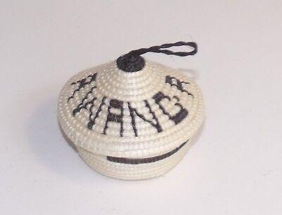 Rwanda Tutsi peace pot lidded basket ornament black & white African Tribal Art