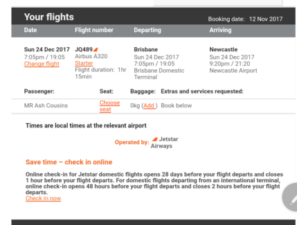 One way flight from Brisbane to Newcastle on Christmas eve.