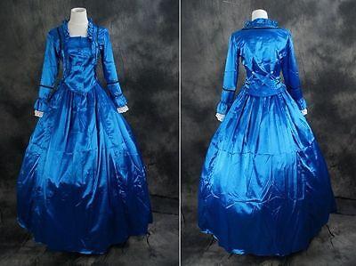 V-19 blau  Satin Victorian Lolita Cosplay Kostüm Kleid dress costume civil war