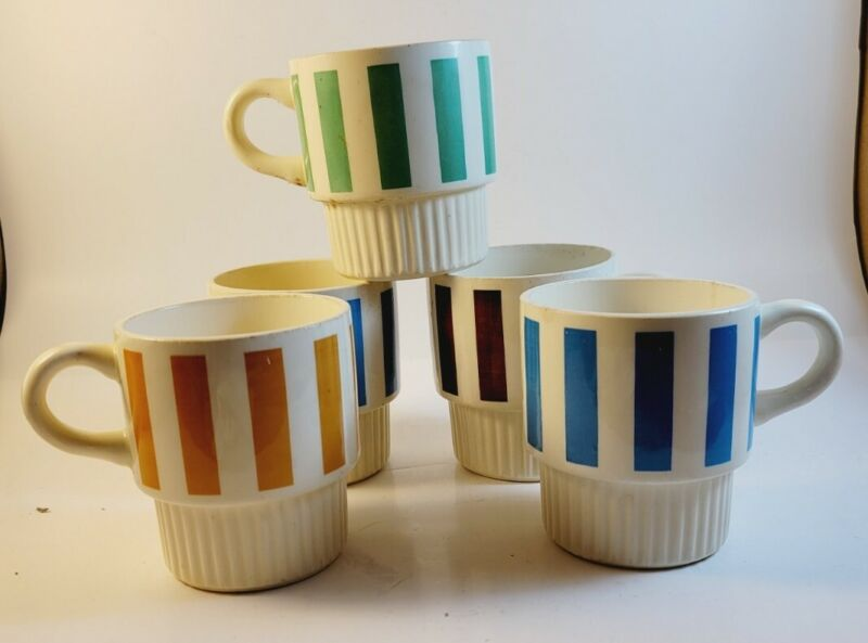 6 MID CENTURY Vintage McCoy USA Coffee Mugs Cups Stacking Striped USA restaurant