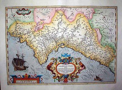 1603 Ortelius Map VALENCIA Spain - Flamboyant Decorative Elements, Fine Example!