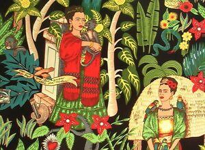 FRIDA'S GARDEN~Alexander Henry~Mexican~Frida Kahlo~ Black~Folklorico~Fabric~1/2y