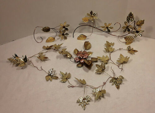 Vintage Homco Brass & Copper Flowers Leaf Leaves Wall Hanging Decor Lot of 6 Pcs