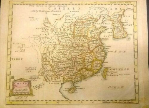 Antique map of The Chinese Tartary 1758 CHINA, THE CHINESE SEA , COLOR FRAMEABLE
