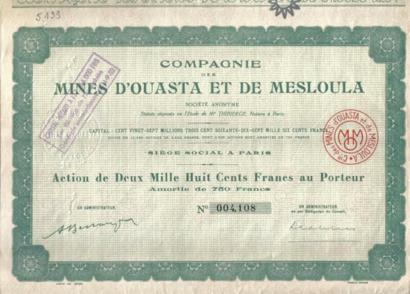 Africa Algeria France Lead Copper Mines Ouasta  Mesloula 2.800fr Uncancelled cop