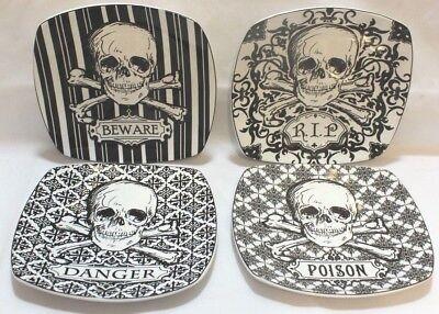 222 Fifth Halloween Skulls Black & White Porcelain Salad Plates Set of Four New](Halloween Salad)