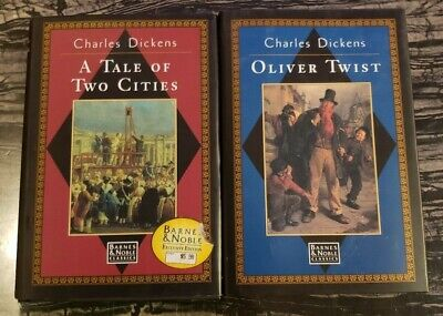 CHARLES DICKENS - Lot of 2 Hardcover Books - A TALE OF TWO CITIES & OLIVER