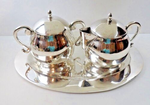 Juventino Lopez Reyes Mexico Modernist Sterling Silver Cream Sugar Set & Tray