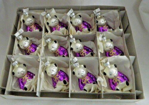 Box of 12  White/Purple Boy Teddy Bears  Blown Glass Christmas Ornaments Germany