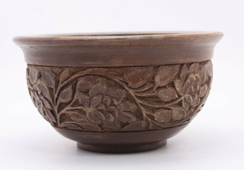 Hand Carved Wood India Floral 3.5x6.5 Bowl Mid C Ethnic Boho Nut Snack Catchall