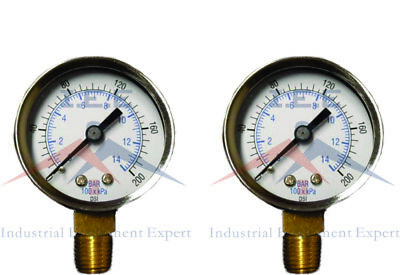 2 Air Compressor Pressurehydraulic Gauge 1.5 Face Side Mount 18 Npt 0-200 Psi