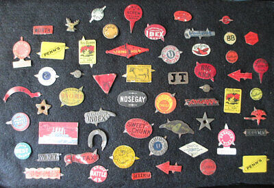 Vintage Tin Tobacco Tags Lot, Moose Head, Red Bird, Gold Rope, Kingbolt, etc
