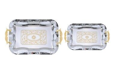 2pc Large Chrome Plated Decorative Serving Tea Tray Gold Handle/Accents AI20993