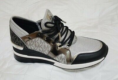 Michael Kors Women's Liv Trainer Extreme Sneakers Shoes Silver Multi  7.5M