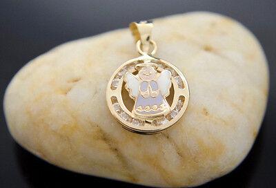 (Angel Enamel Pendant & Chain 14k Real Gold Charm Medalla Angelito Oro y Cadena)