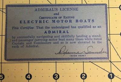 Admirals License U-Drive Electric Motor Boats Certificate and Rating California