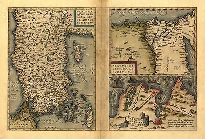 Large A1 Size Ortelius Turkey Cyprus Tunis Carthago Egypt Nile Delta 3 Old Maps