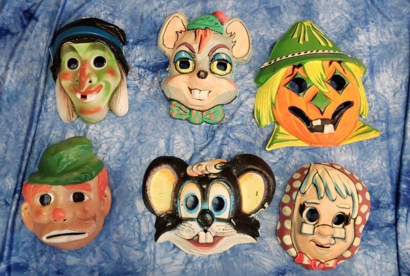 Lot Vintage Ben Cooper, Collegeville Dime Store Halloween Masks witch bum +