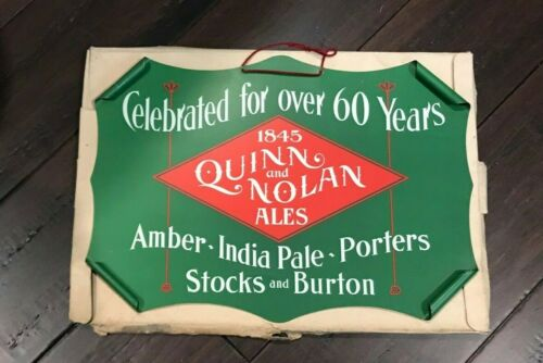 PRE-PROHIBITION QUINN AND NOLAN ALE BEER SCROLLED EDGE METAL SIGN ALBANY NY MIB