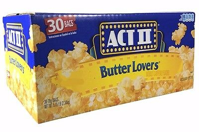 ACT 2 Butter Lovers Microwave Popcorn 5.15LB 100% Whole Grain 30 Bags