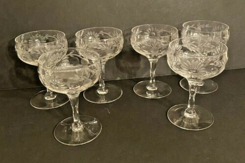 Vintage Etched Crystal Sherry Cordial Glasses Set of 6 Elegant 2 fl oz stems