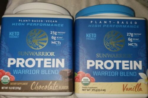 Lot Of 2 Sunwarrior Organic Protein Warrior Blend VANILLA & cho 13.2oz Exp 12/21