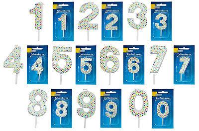 1 x Party-Zahlenkerze Picker 7 cm Ziffern 0-9 Weiß Geburtstags-Kerze Feier Deko