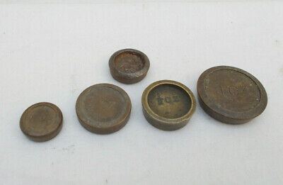 5 Vintage Small Brass & Steel Weights For Weighing Scale