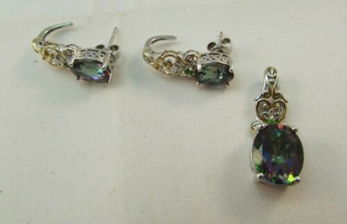 925 Sterling Silver Mystic Topaz Pendant & Earrings Set Yellow Gold Accents