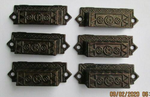 Six Matching Ornate Victorian Eastlake Antique Iron Drawer / Bin Pulls