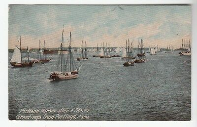 [49107] OLD POSTCARD SAILBOATS IN PORTLAND, MAINE HARBOR AFTER STORM