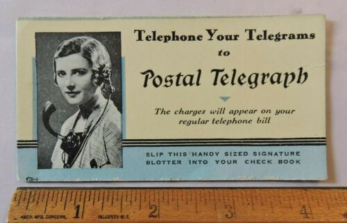 Rare 1925? Postal Telegraph Telephone Advertising Blotter