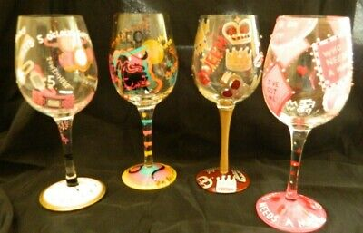 Set 4 LOLITA 5Oclock Somewhere, LEO, Queen, Who needs a man?  Painted Wine Glass ()