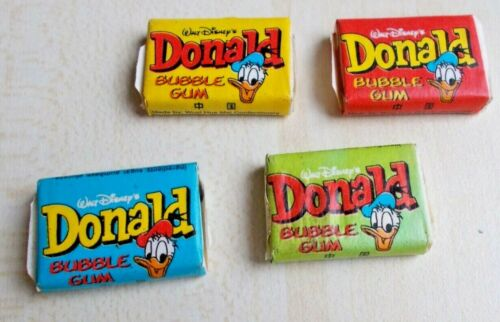VERY RARE Full Gum Vintage Chewing Bubble DONALD CHINA 4 pcs colours