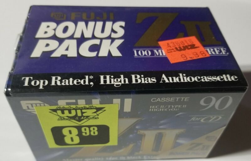 5 Pack Fuji ZII High Bias(4)90+ (1)100 Min Blank Audio Cassette Tape The Wiz