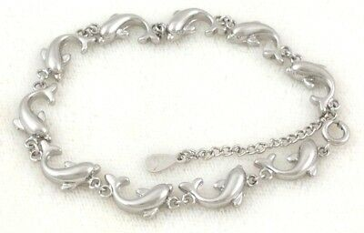 Sterling Silver .925 Solid Jumping Dolphin Link Chain Bracelet Stamp w/Box