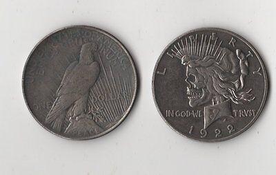 1922 Peace Dollar Hobo Nickel Style Skull Zombie Fantasy Novelty Coin