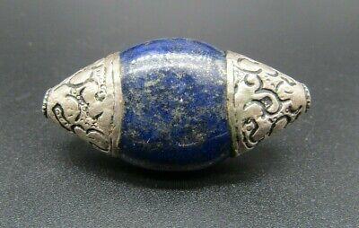 Near Eastern silver lapis lazuli silver mounted bead