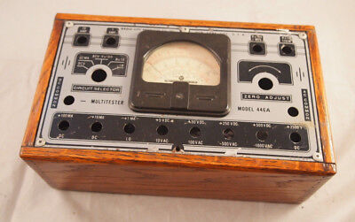 Radio City Products Model 446a Tester Wooden Box Vintage Multimeter