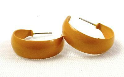 Yellow Enamel Earrings (Mustard Yellow Enamel Hoop 7/8