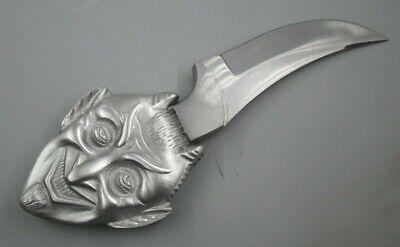 smiling satan custom made blade sacrificial devil pewter knife handle  Pewter Custom Blade