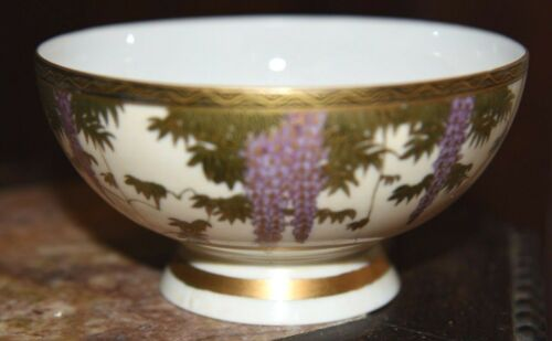 Fine Hand-Painted 19th C JAPANESE EGGSHELL Porcelain Soup Bowl Wisteria