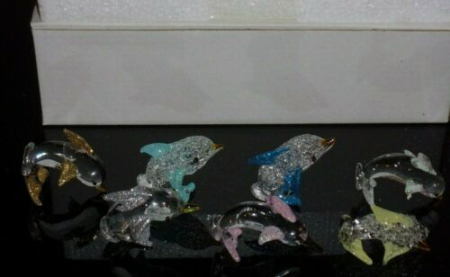 Lot of 7 Art Glass Dolphins Figurines